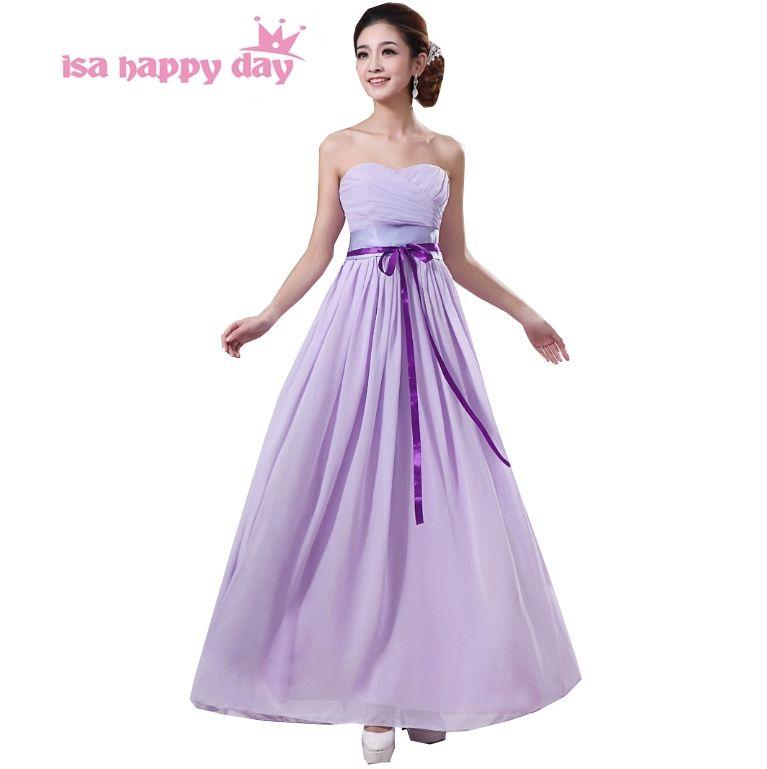 long light purple chiffon bridesmaid party plus size formal dresses ...