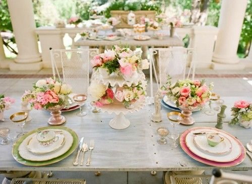 Pink And Green Wedding Tablescape