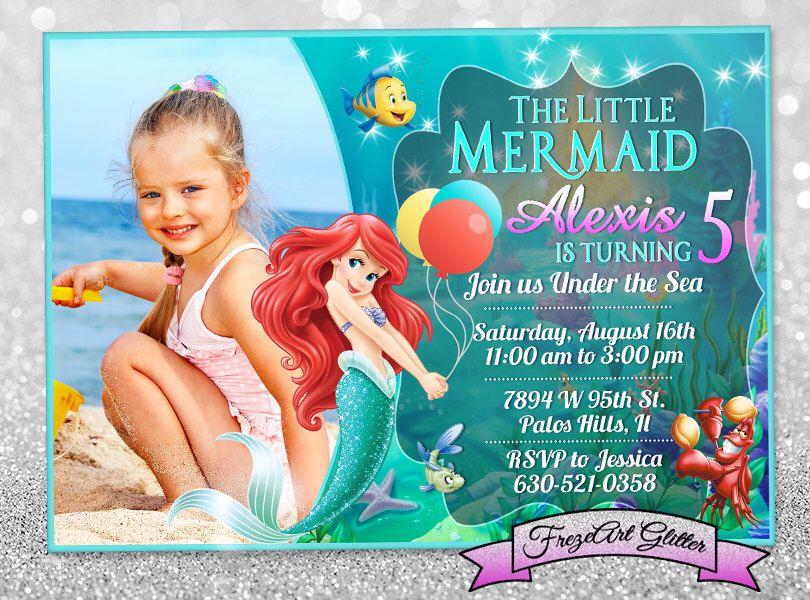 Little mermaid Ariel Birthday invitation card invite Birthday party