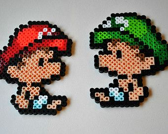 B b mario et b b luigi perler bead sprite ensemble ou - Bebe mario et bebe luigi ...