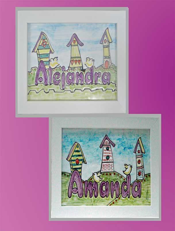 Cuadro niña de cerámica con ilustración infantil de casitas y nombre ...