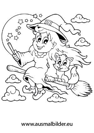 Ausmalbild Halloween Fliegende Hexe Mit Katze Malvorlage Einhorn Halloween Ausmalbilder Ausmalbilder