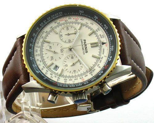 E662parnis White Dial 40mm Quartz Chronograph Watch An Art Piece