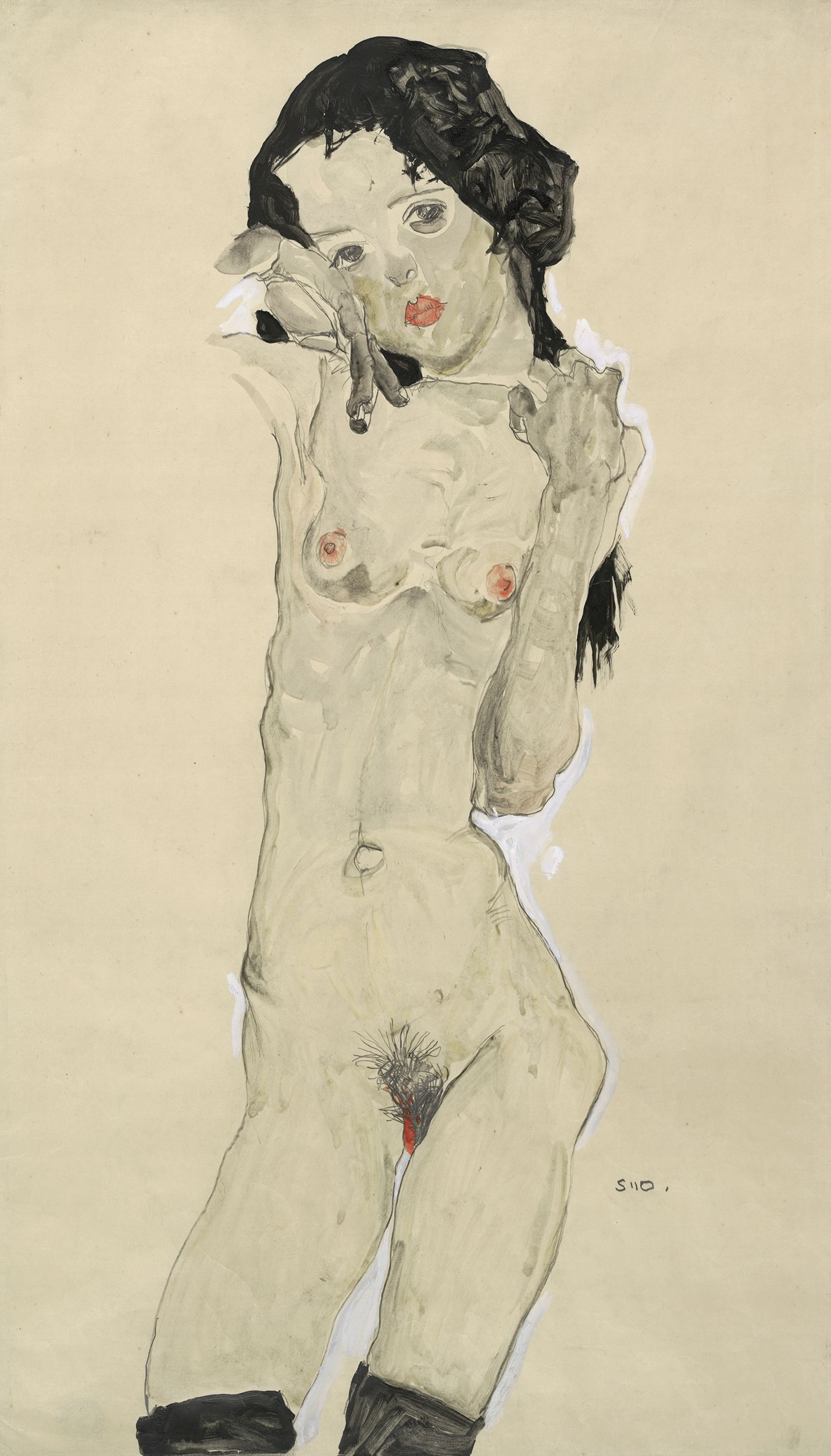 Egon Schiele   Black-haired nude girl, standing   1910   Albertina, Vienna #AlbertinaSchiele