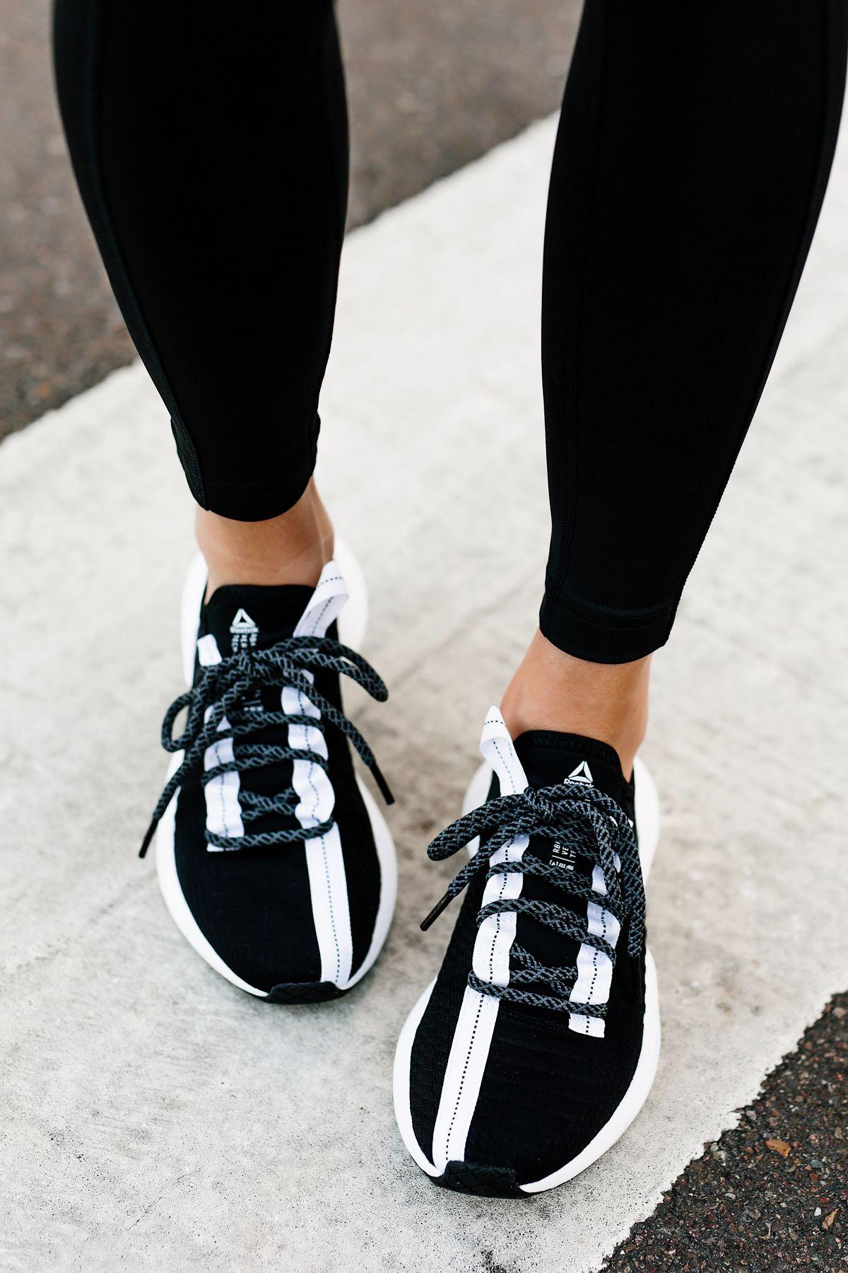 0603854a74181c Woman Wearing Black Leggings Reebok Sole Fury Black Sneakers Fashion  Jackson San Diego Fashion Blogger