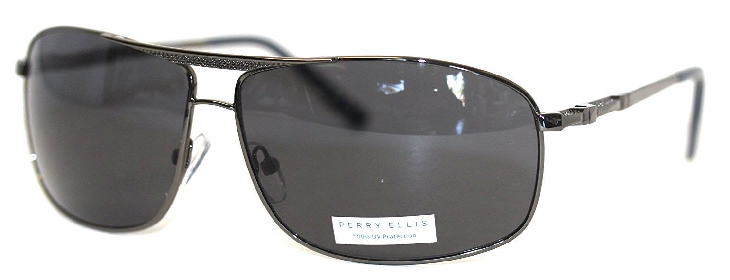 56f855acfc Perry Ellis Mens Sunglasses Gunmetal - Square Aviator PE31 3 - CL11IAU3QGD  - Men s Sunglasses
