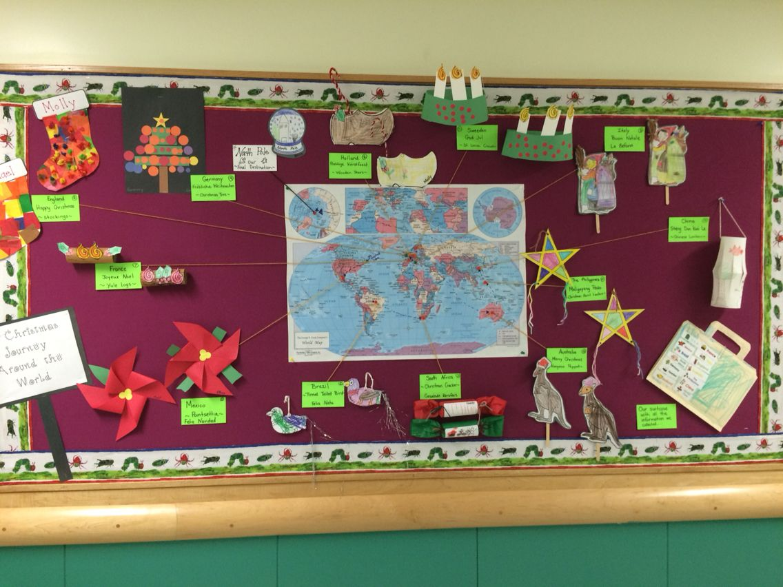 surprising Christmas Around The World Bulletin Board Part - 11: Christmas Around The World bulletin board -first grade