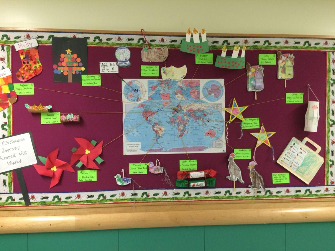 surprising Christmas Around The World Bulletin Board Part - 11: Christmas Around The World bulletin board -first grade