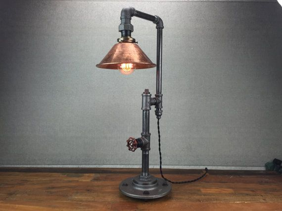 edison table lamp industrial furniture iron pipe lamps rustic light copper shade. Black Bedroom Furniture Sets. Home Design Ideas