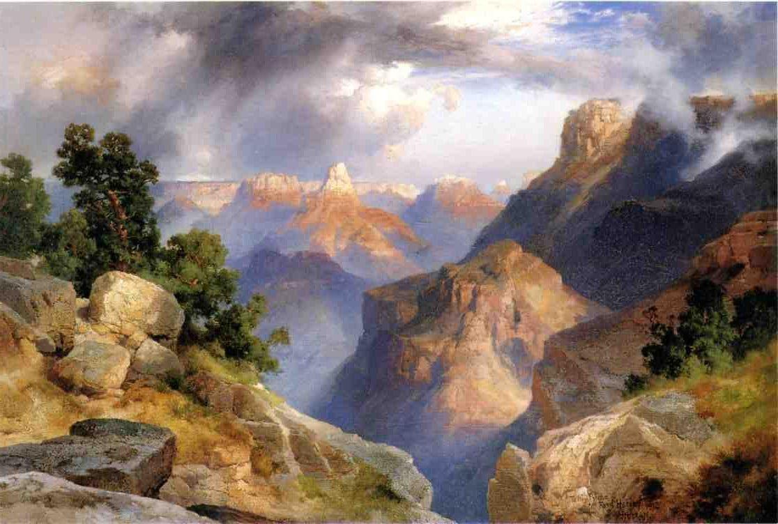 """Grand Canyon,"" Thomas Moran, 1912, oil on pressboard, 15 7/8 x 23 7/8"", Nelson-Atkins Museum of Art."