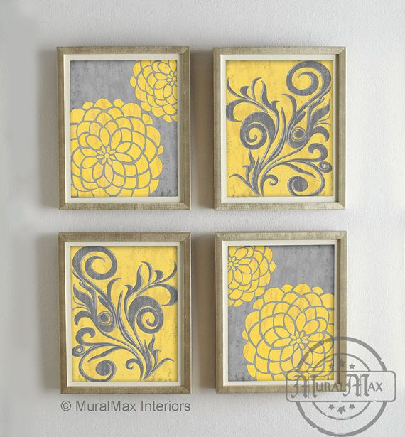 Yellow and Gray Dahlia Flower Artwork Set of 4 Wall Art - Vintage ...