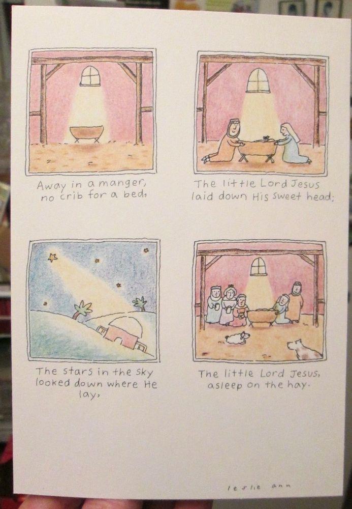 4 Hallmark Shoebox Christmas Cards Little Lord Jesus manger scene ...