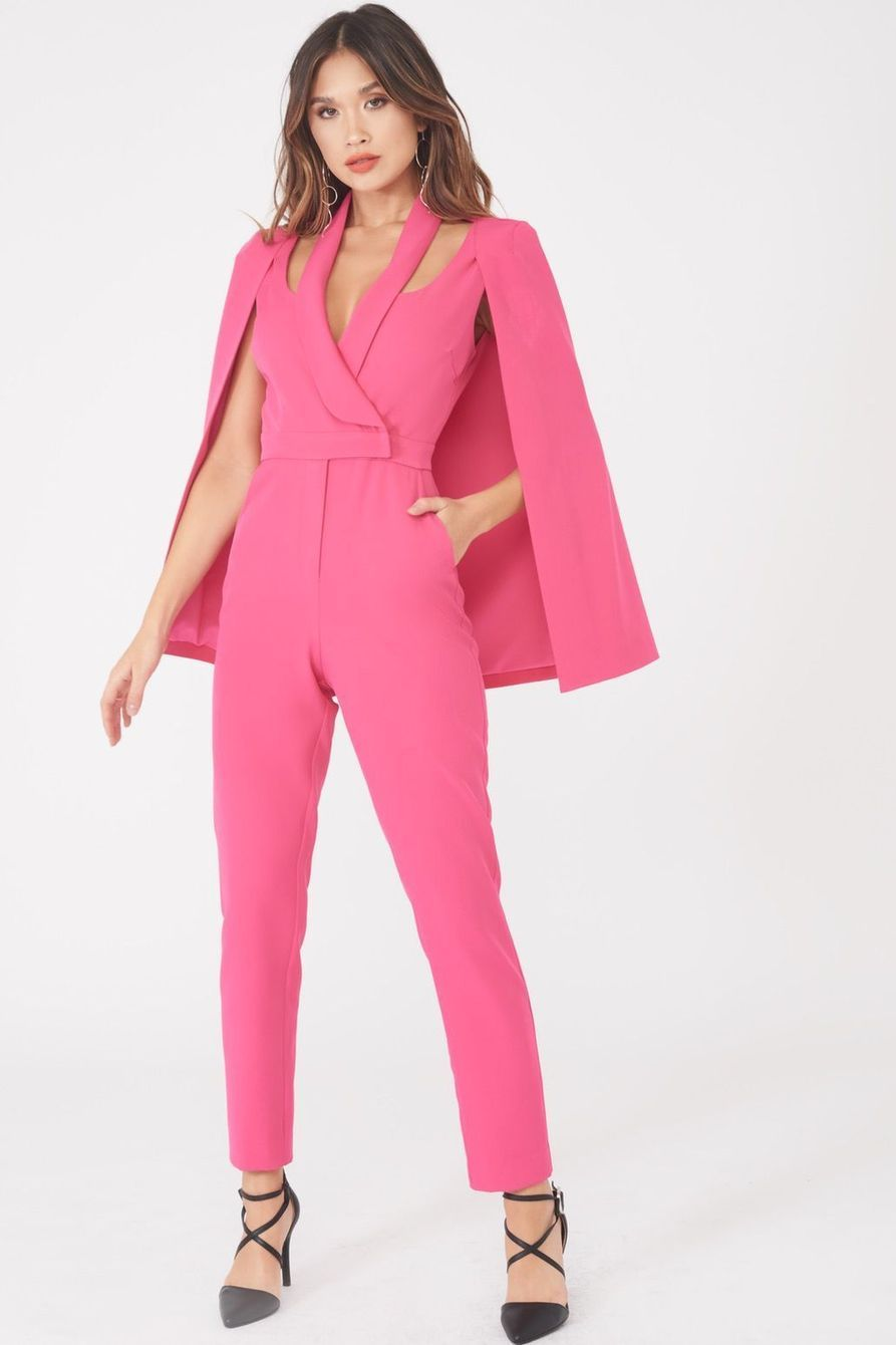 c07afeac236 Signature Cape Blazer Jumpsuit in Bright Pink Hot Pink Blazers