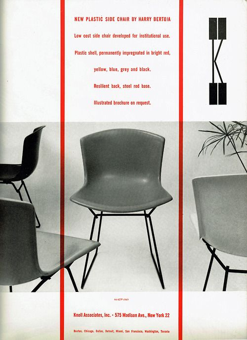 Bertoia plastic side chair from Knoll, 1956