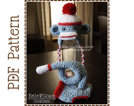 4 Sock Monkey Diaper Cover Hat For Babies Crochet Pattern By