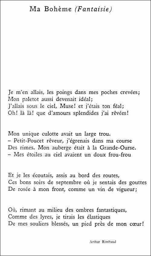 Arthur Rimbaud Ma Bohème Fantaisie Genius