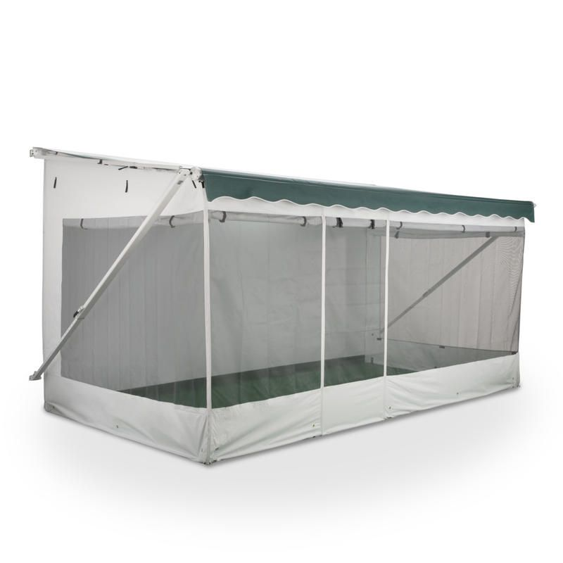 Turn Your Rv Awning Into A Comfortable Screened In Enclosure Universal Attachments Fit Most Patio Awnings Rv Screen Rooms Screen Tent Camper Awnings