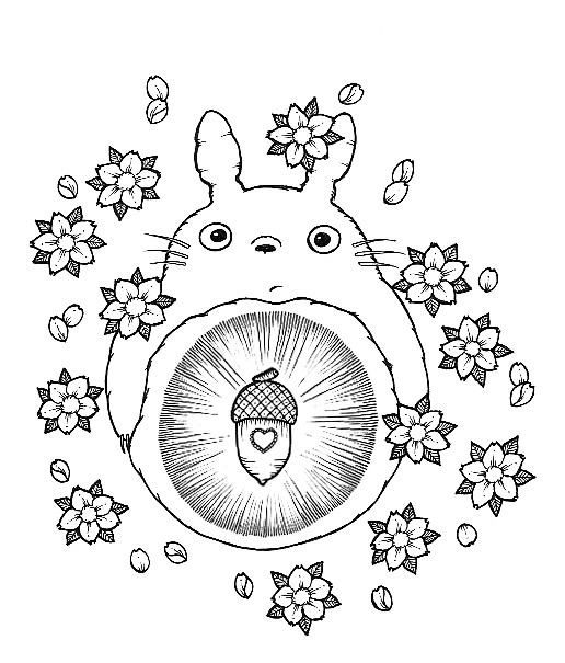 totoro studio ghibli tattoocoloring pagesfree - Totoro Coloring Pages