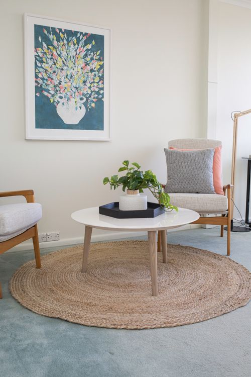 Home Office Study Off Bedroom Round Coffee Table Circle Jute