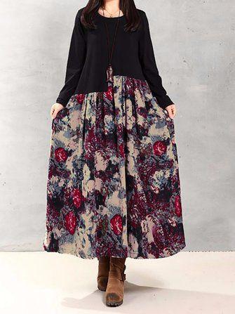 Women Vintage Floral Printed Patchwork Long Sleeve Maxi Dress