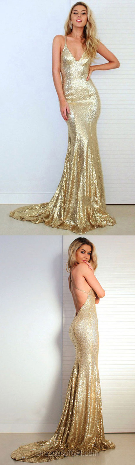 Hot Gold Backless Prom Dresses, Trumpet/Mermaid V-neck Evening Party Gowns, Sequined Sweep Train Ruffles Formal Dresses
