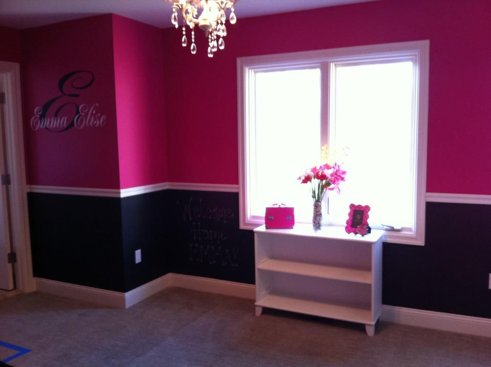 Hot pink black girl 39 s room the top is behr tuti fruti and the bottom is chalk board paint - Hot pink room ideas ...
