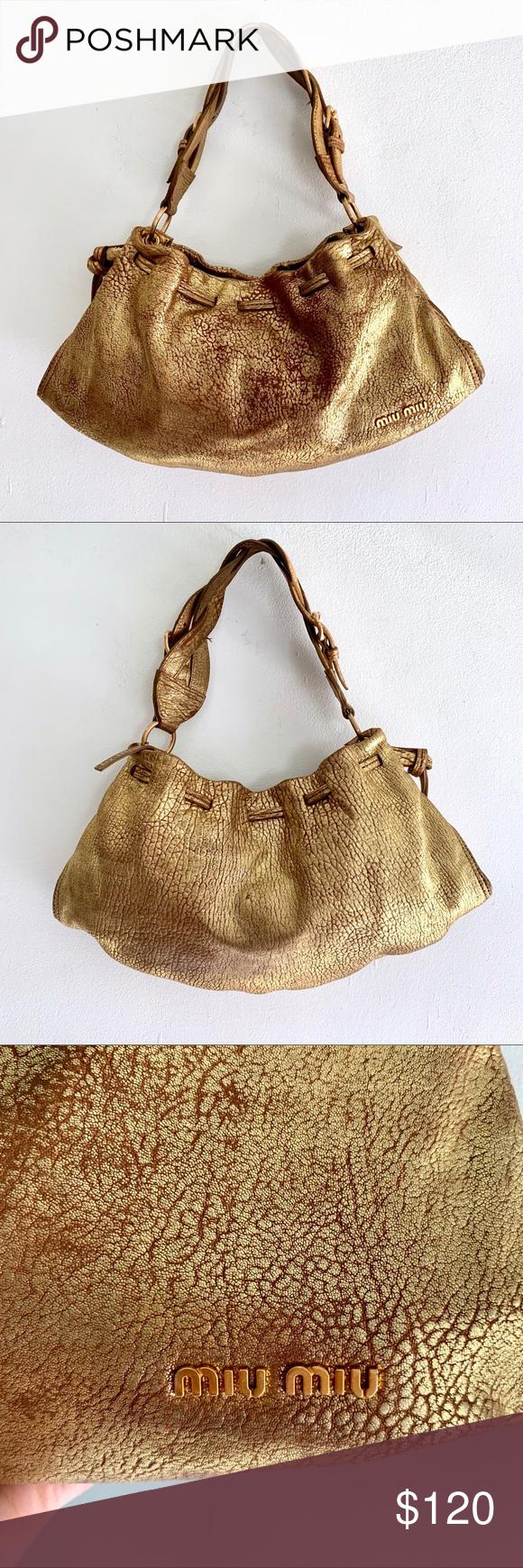 37a77ea4f Miu Miu Distressed Gold Leather Hobo Bag Miu Miu Distressed Gold Leather  Slouchy Hobo Bag Previously