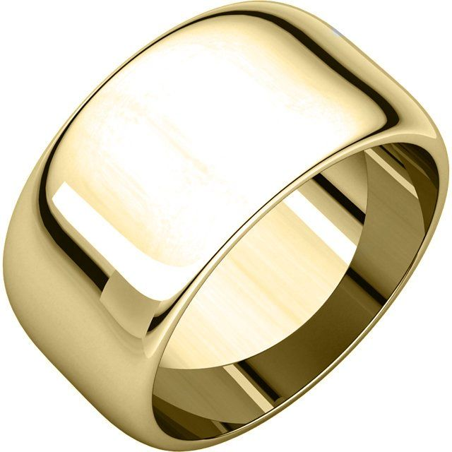14 Kt Yellow Gold 10 0 Mm Wide Half Round Wedding Band The Whole