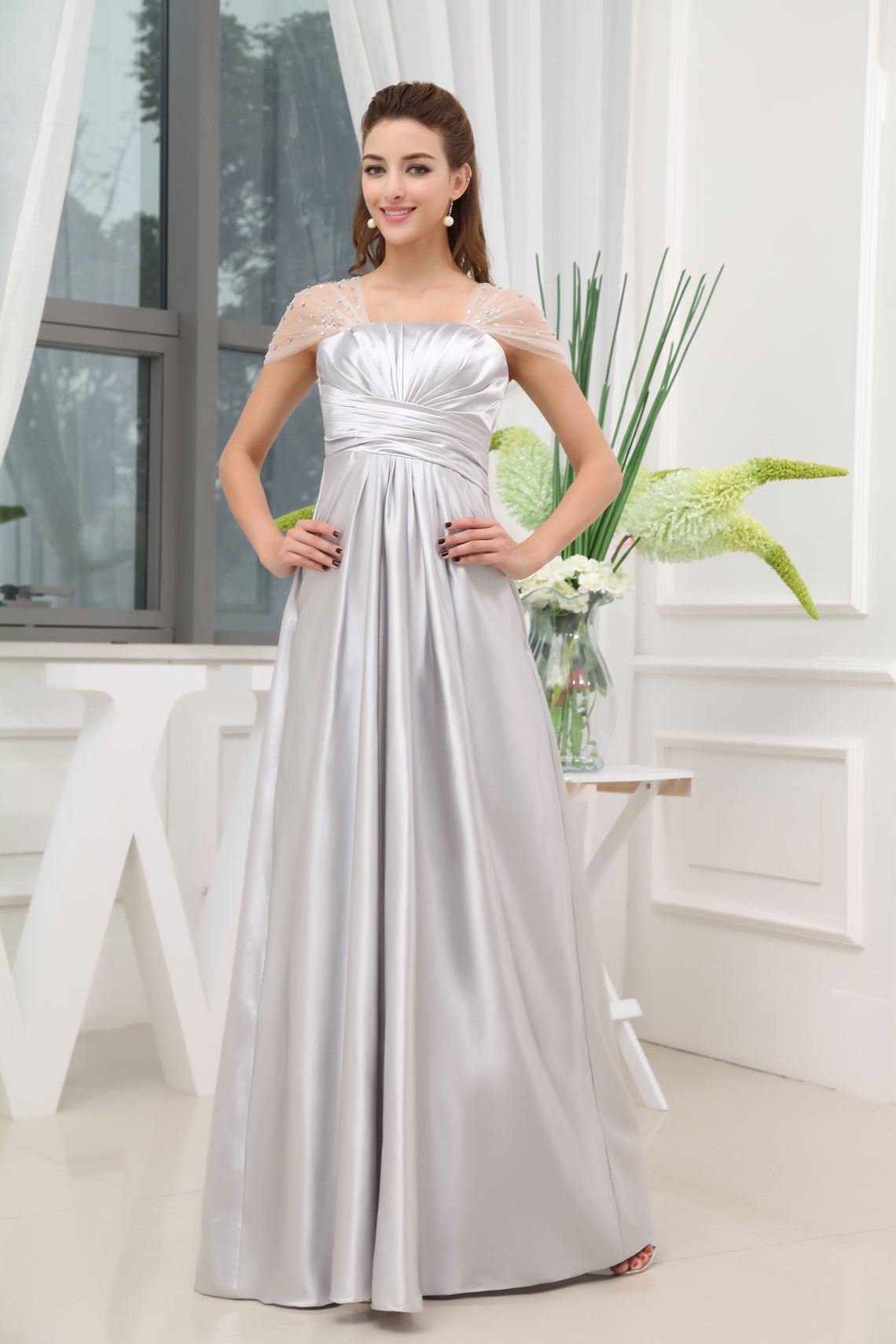 Silver cap sleeves evening gowns prom bridesmaid dresses prom