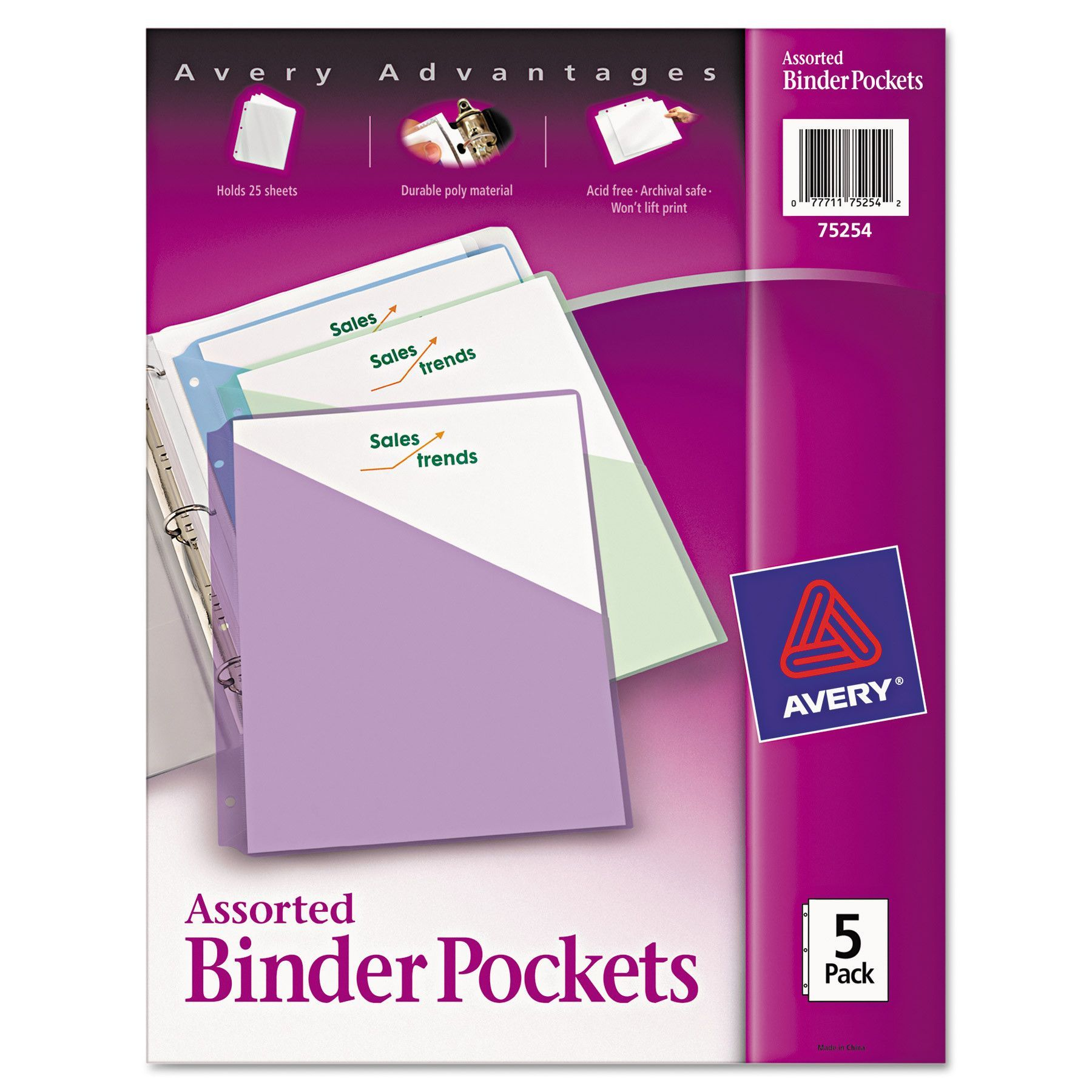 Avery 3 Hole Punched Binder Pockets Assorted Colors 9 1 4