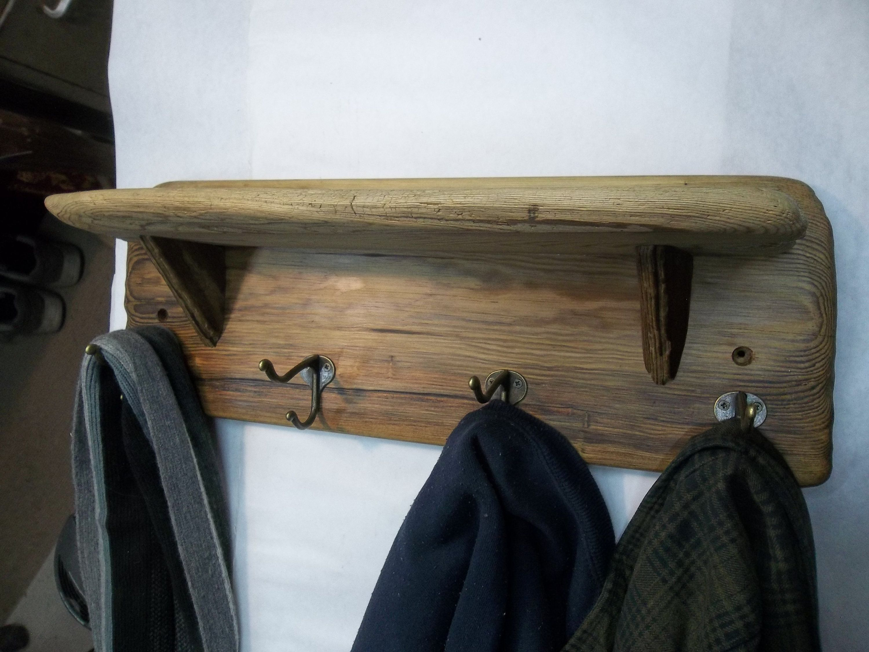 Driftwood Wall Shelf With Coat And Hat Hooks Bathroom Shelf With Towel Hooks Kitchen Shelf With Cup Hooks Rustic Dec Driftwood Shelf Wall Shelves Shelves