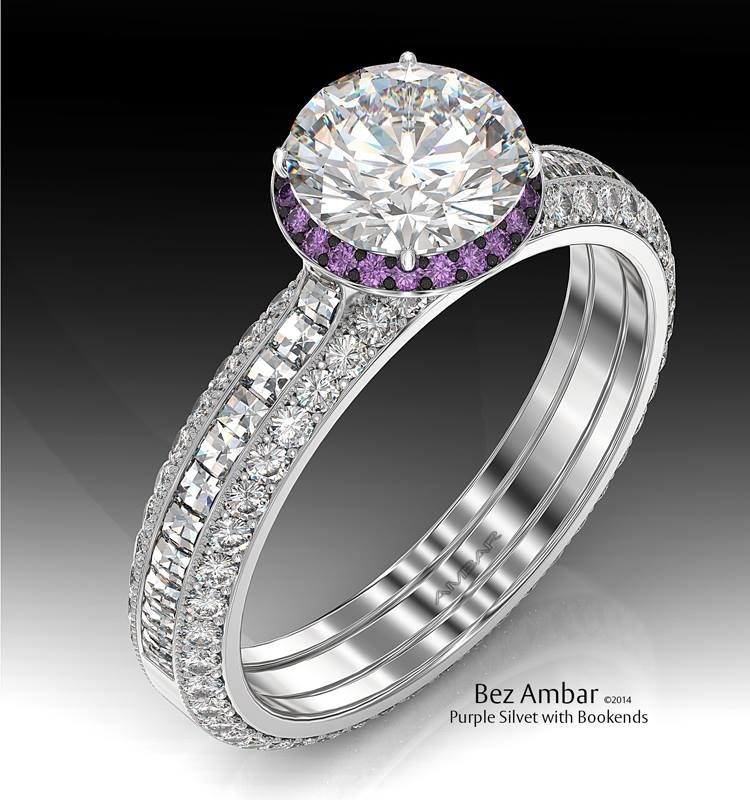 Delicate Engagement Ring With Round Diamond Accentuated By An Amethyst Frame And Blaze Set Shank