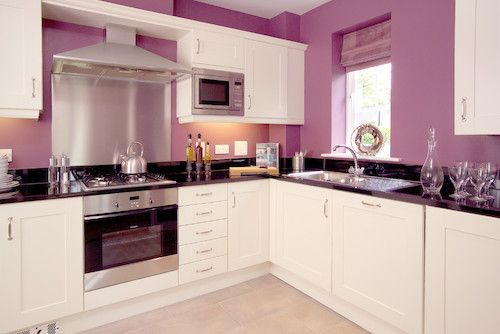 Kitchen Décor • Lavender/Lilac and White Color Theme • Black and