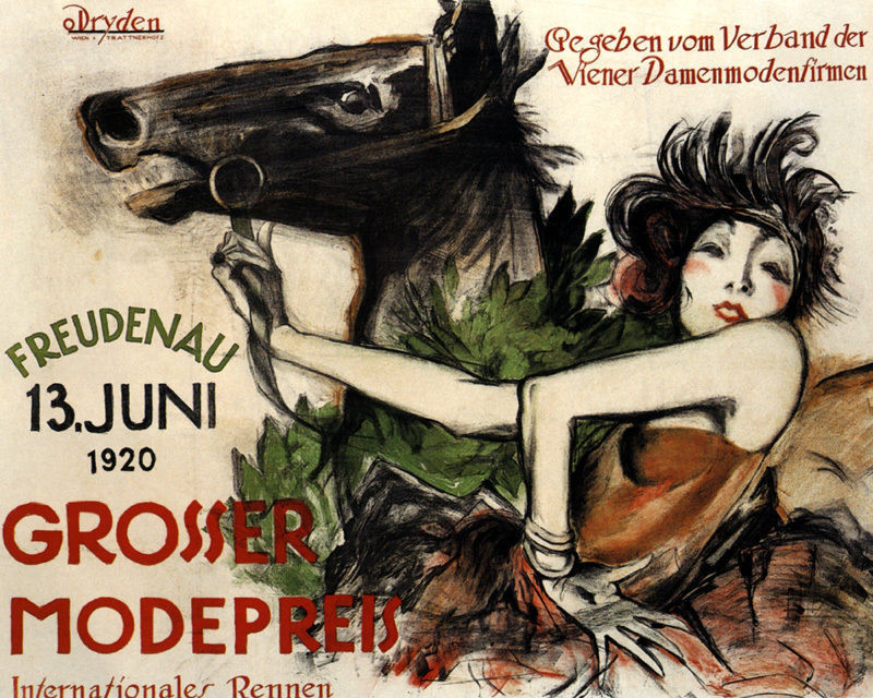 POSTER HORSE 1920 GROSSER MODEPREIS LADIES FASHION GERMAN VINTAGE REPRO FREE S//H