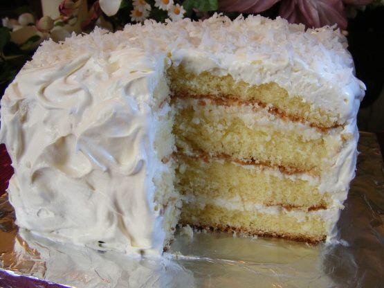 Coconut Sour Cream Cake Recipe Food Com Recipe Sour Cream Cake Coconut Cake Recipe Coconut Cream Cake