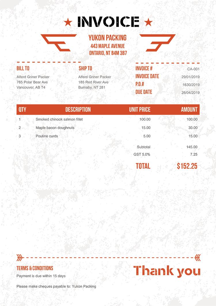 Invoice Template Ca Military Orange in 2020 Invoice
