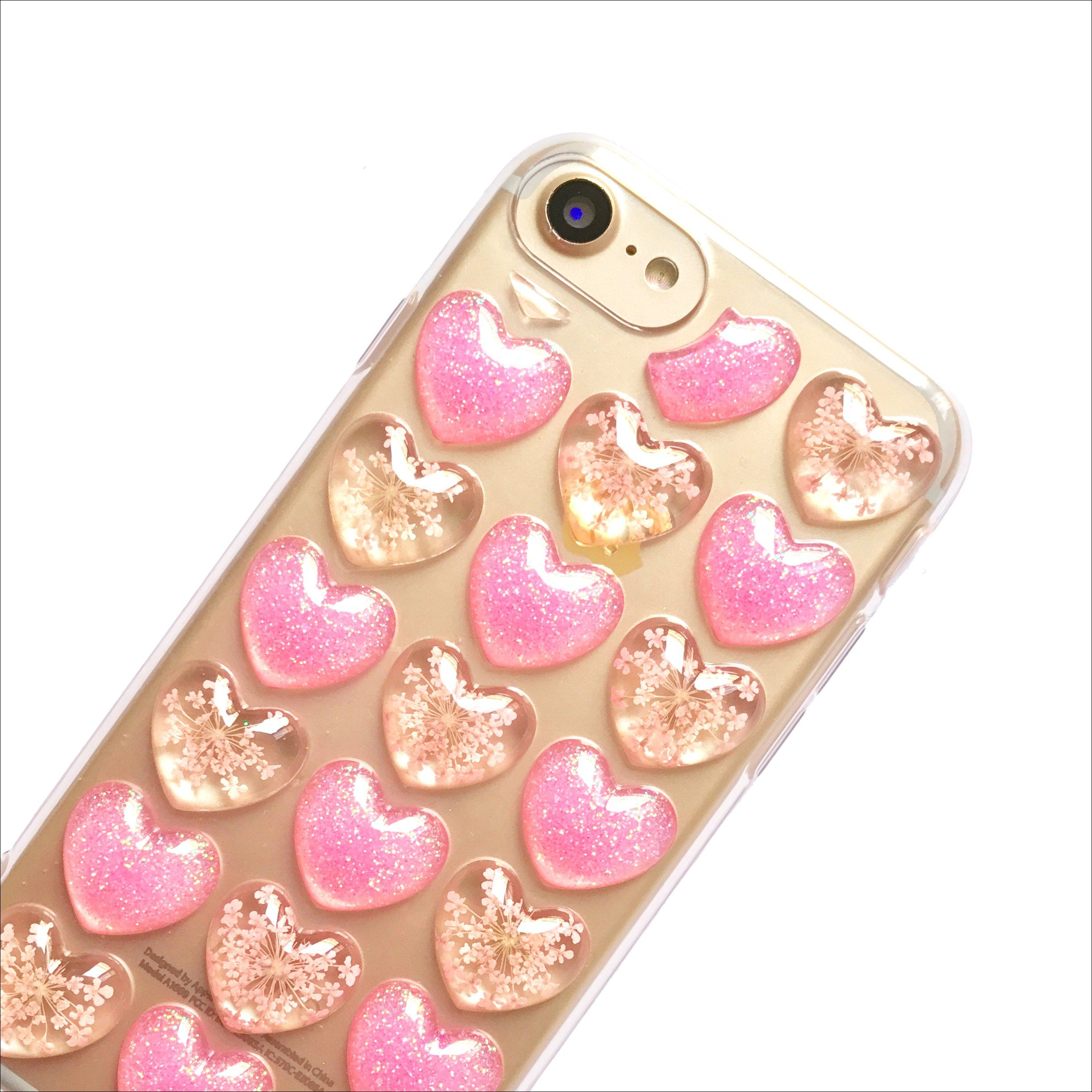 Pressed Pink Floral & Glitter Bubble Hearts Phone Case