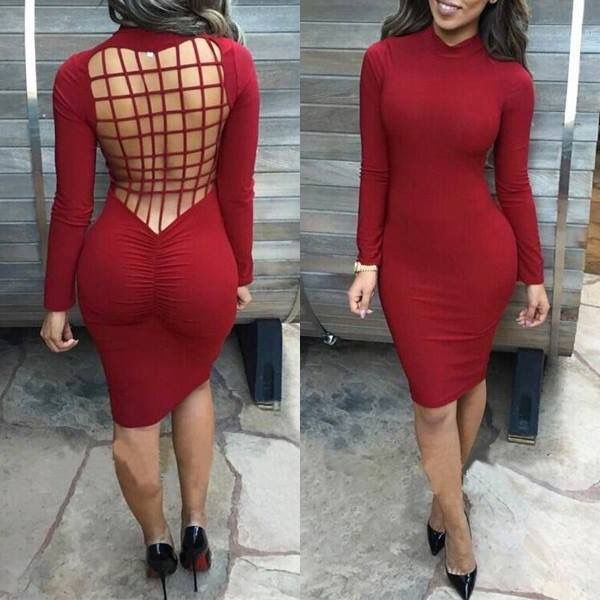 Meiling womens sexy criss back long sleeve party bandage bodycon midi dress
