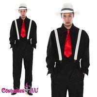 HAT Belt Tie Mens 20s 1920s Gangster Costume Pinstripes Pimp Suit Fancy Dress