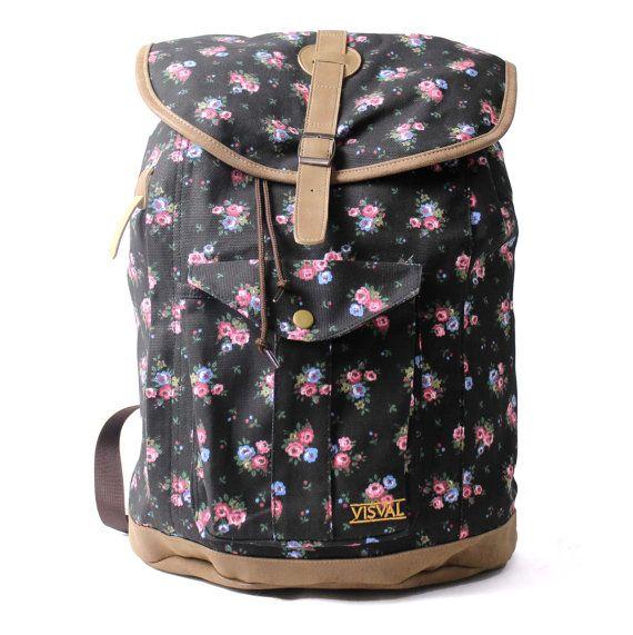 Soka Vintage Backpack Rucksack Black by ModernWudenWallClock