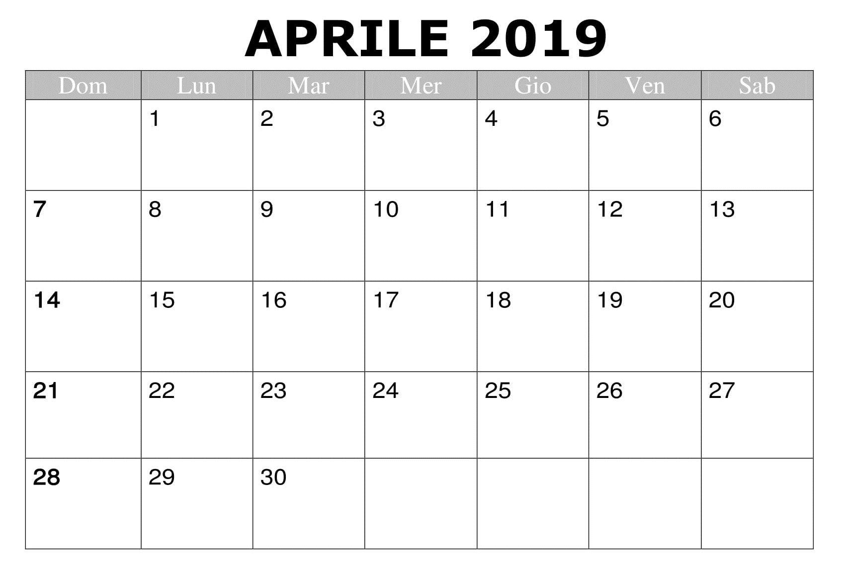 Modello Calendario Word.Mese Aprile 2019 Word Calendario Calendario Aprile 2019 Da