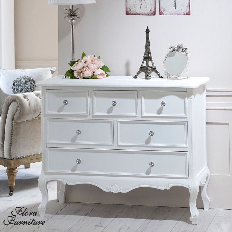 fe76353adf Elise White Range - 6 Drawer Chest Ornate white painted six drawer chest of  drawers Designed with a beautifully carved body and elegant legs