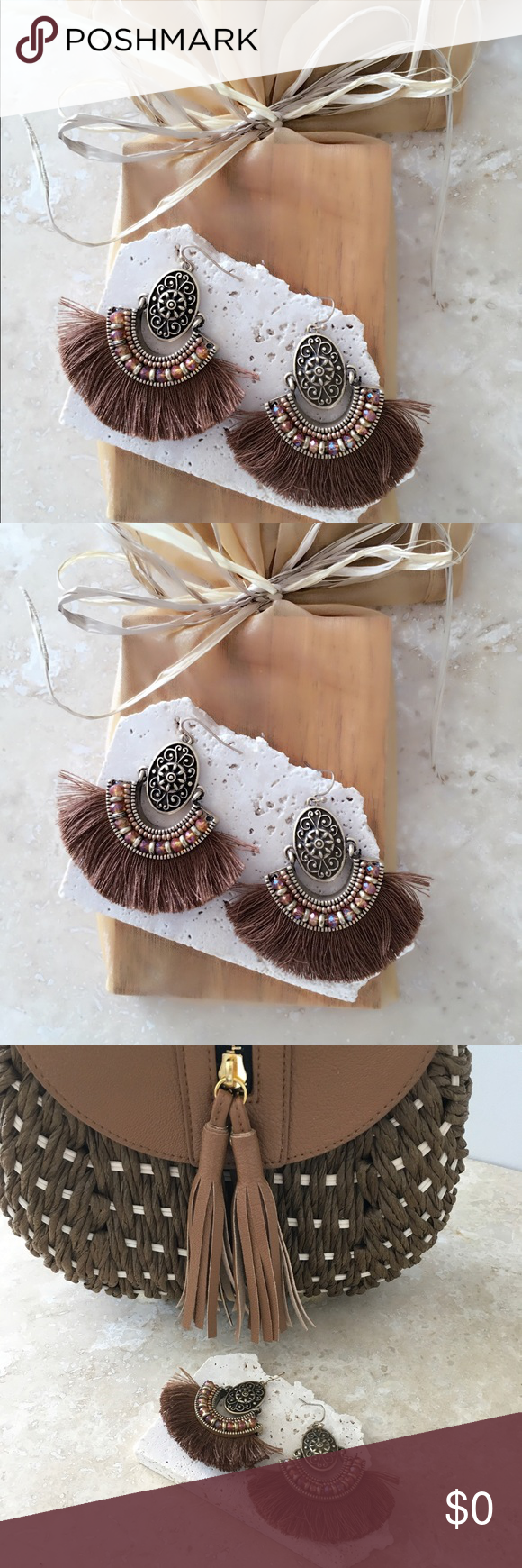 """🍁BRAND NEW🍁Olga Brown Fan Shaped Tassel Earrings 🍁BRAND NEW🍁Olga Brown Fan Shaped Tassel Earrings  Gold earrings Fringed silky brown thread detail COLOR:  BROWN  Measures approx 2"""" dangling 2.5"""" W  Fish hook closure   FREE WITH PURCHASE: Cute little organza drawstring pouch for storage or for gifting.    🛍Bundle & Save!! 10% 2+ items  ✅No Trades, Thank you. Jewelry Earrings"""
