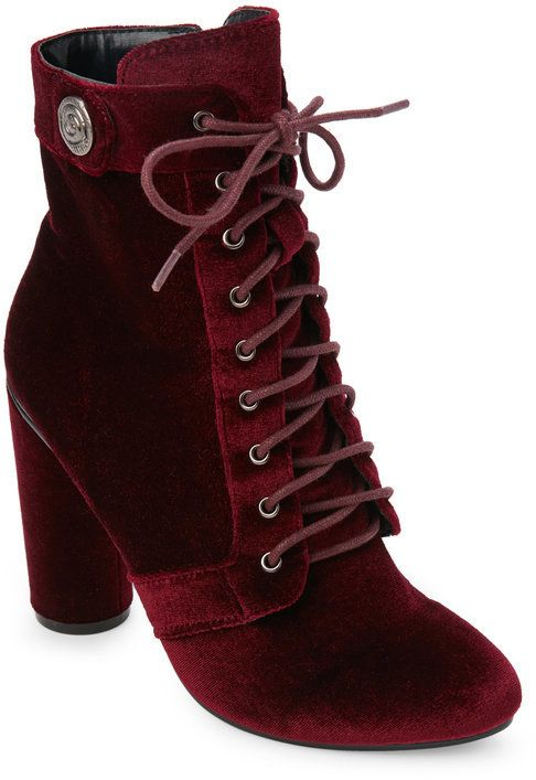 18cd9706b45 Catherine Malandrino Burgundy Veeanca Velvet Lace-Up Booties. Catherine  Malandrino Burgundy Veeanca Velvet Lace-Up Booties Red Velvet Boots