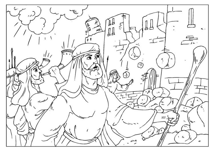 Coloring Page Jericho Img 25964 Bible Coloring Pages Joshua