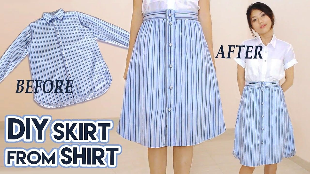 Diy Turn Old Shirt Into Skirt Button Front A Line Midi Skirt Clothes Transformation Upcycle Clothes Makeover Diy Skirt Upcycle Clothes Diy