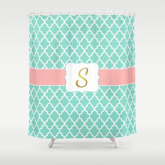 Monogrammed Shower Curtain Mint Coral Pink Faux Gold By Hhprint