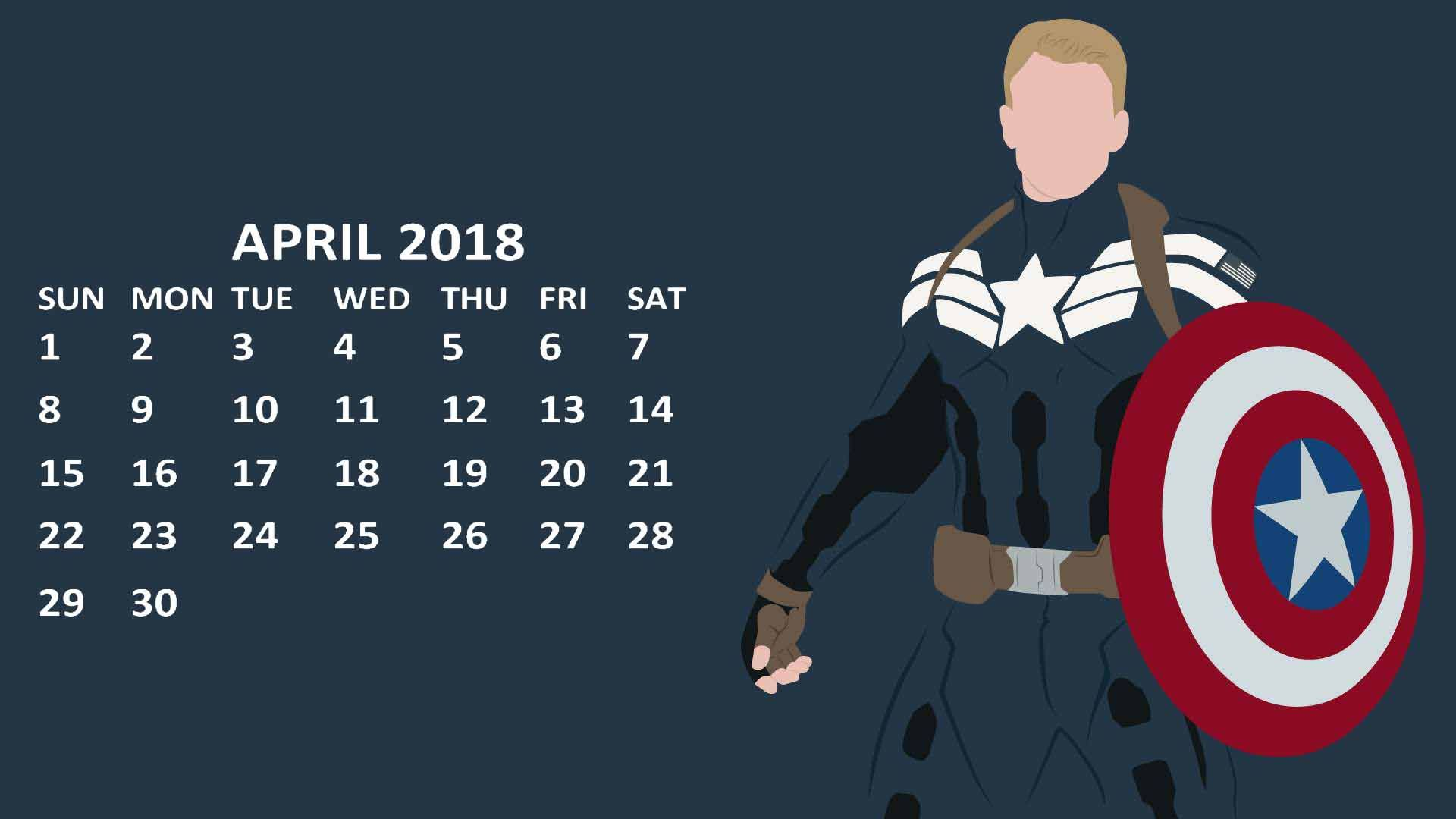 Wallpaper Calendar Superhero : Marvel captain america april calendar