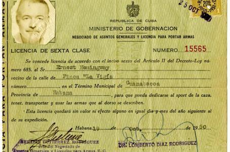 Licencia de Cuba de Ernest Hemingway
