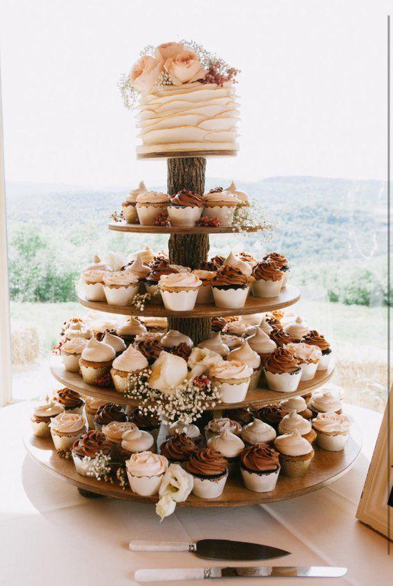 Rustikale Cupcake Stand 5 Tier (Tower Holder) 75 Cupcakes 150 Donuts für Hochzeit, Geburtstag, Dusche, Jubiläum, Party, Gebäck – Holz aus Holz   – Dessert Bar